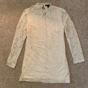 long sleeve lace cream dress | forever 21